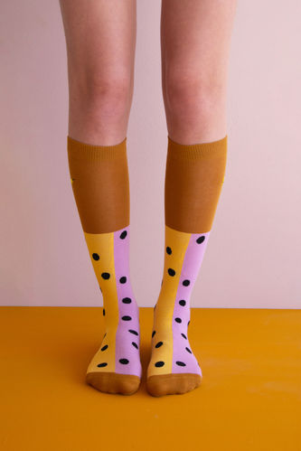 Kniestrümpfe von Sticky Lemon - black freckles pirate purple/retro yellow Gr.35-38