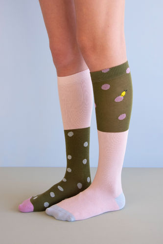 Kniestrümpfe von Sticky Lemon seventies green/candy pink Gr. 35-38