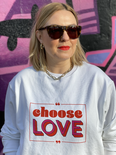 """Choose Love"" Sweat-Paneel + Bündchen + Papierschnitt ""Frau Maxi"""