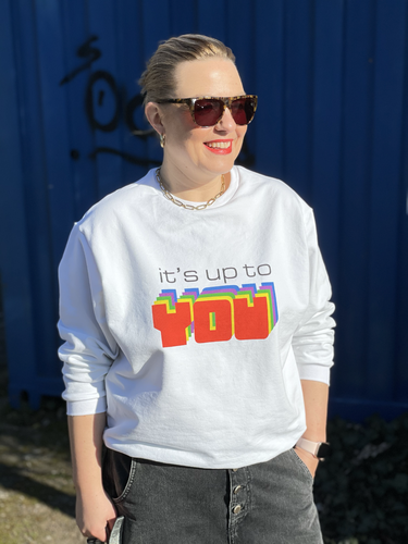 """It's up to you"" Sweat Paneel + Bündchen + Papierschnitt ""Frau Maxi"""