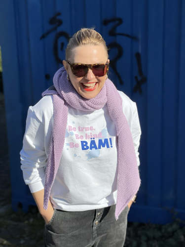 """be true, be kind, be BÄM"" Sweat Paneel + Bündchen + Papierschnitt ""Frau Maxi"""