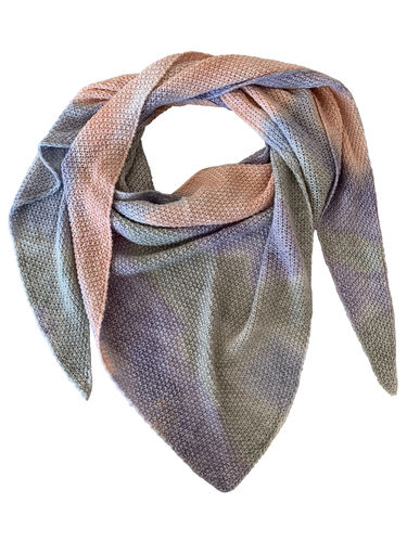 Triangel-Stricktuch Batik Peach Blue Jade